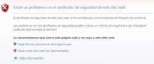 Error de Certificado en Internet Explorer 8